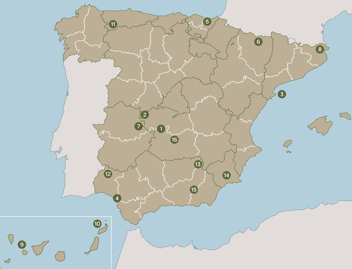 Mapa España puntos escapadas ecoturismo